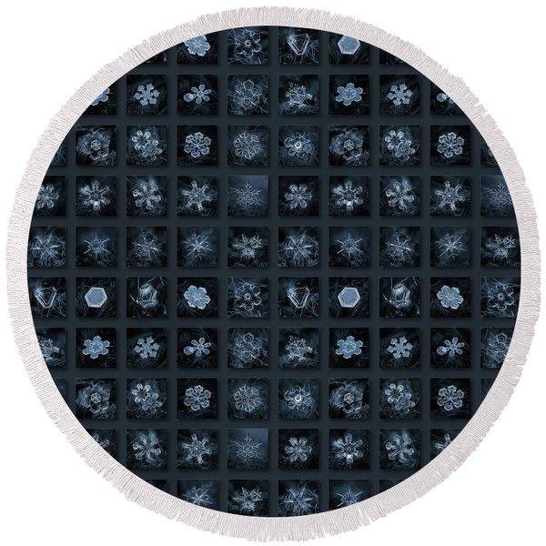 Snowflake Collage - Season 2013 Dark Crystals Round Beach Towel