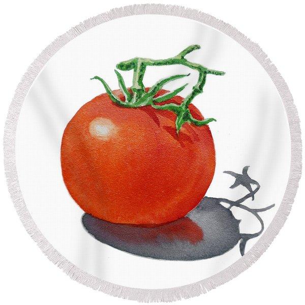 Artz Vitamins Tomato Round Beach Towel
