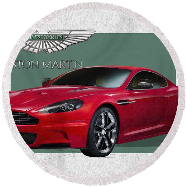 Aston Martin  D B S  V 12  With 3 D Badge  Round Beach Towel