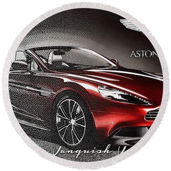 Aston Martin Vanquish Volante  Round Beach Towel
