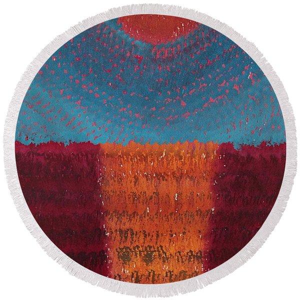 At World's Beginning Original Painting Round Beach Towel