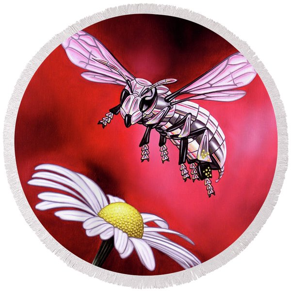 Attack Of The Silver Bee Round Beach Towel