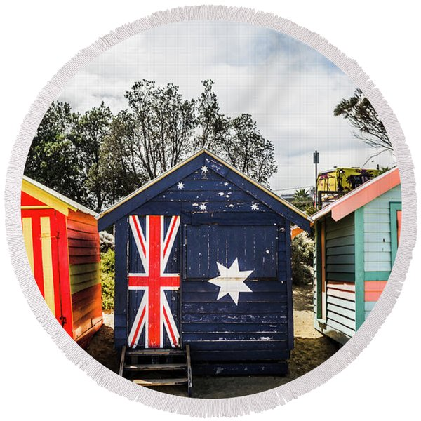 Australia Bathing Boxes Round Beach Towel