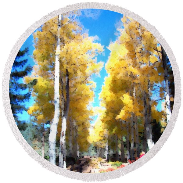 Autumn Aspens Round Beach Towel