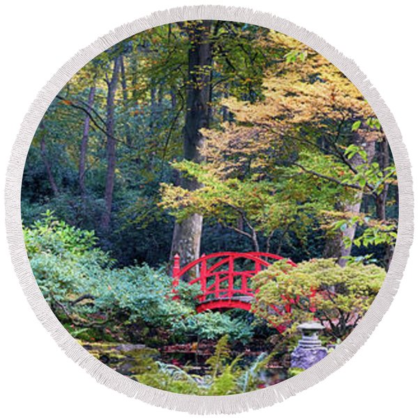 Round Beach Towel featuring the photograph autumn  in Japanese park by Ariadna De Raadt