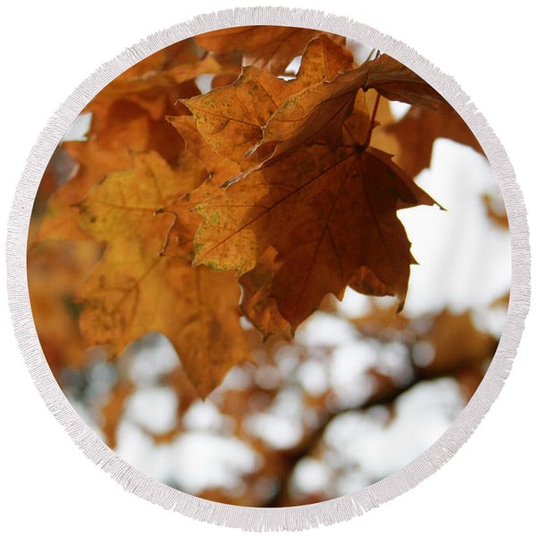 Autumn Leaves- By Linda Woods Round Beach Towel