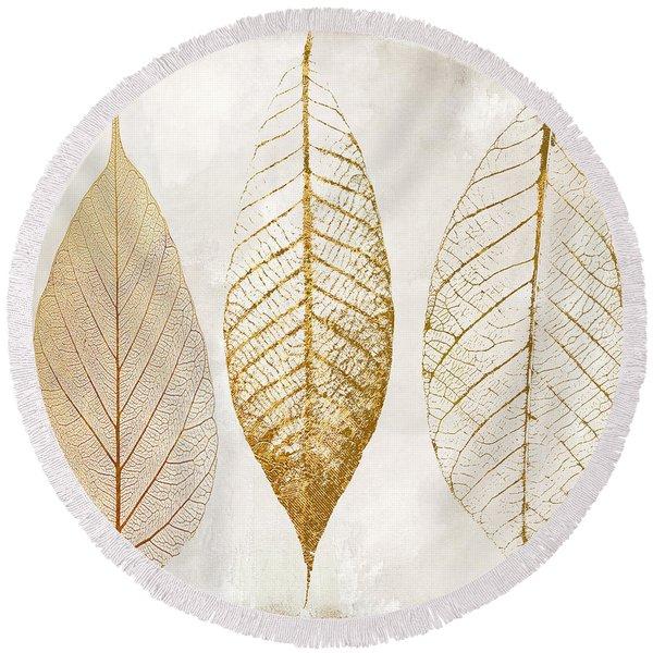 Autumn Leaves IIi Fallen Gold Round Beach Towel