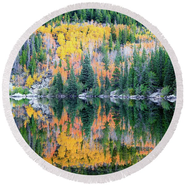 Autumn Mirror At Bear Lake Round Beach Towel