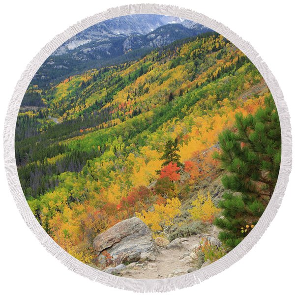 Autumn On Bierstadt Trail Round Beach Towel