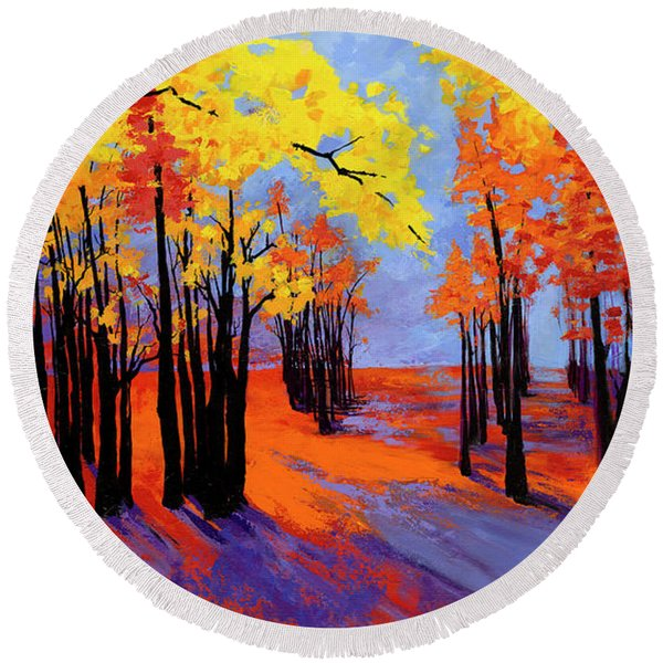 Autumnal Landscape Painting, Forest Trees At Sunset Round Beach Towel
