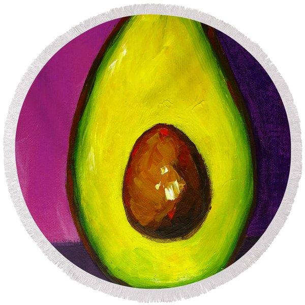 Avocado Modern Art, Kitchen Decor, Purple Background Round Beach Towel