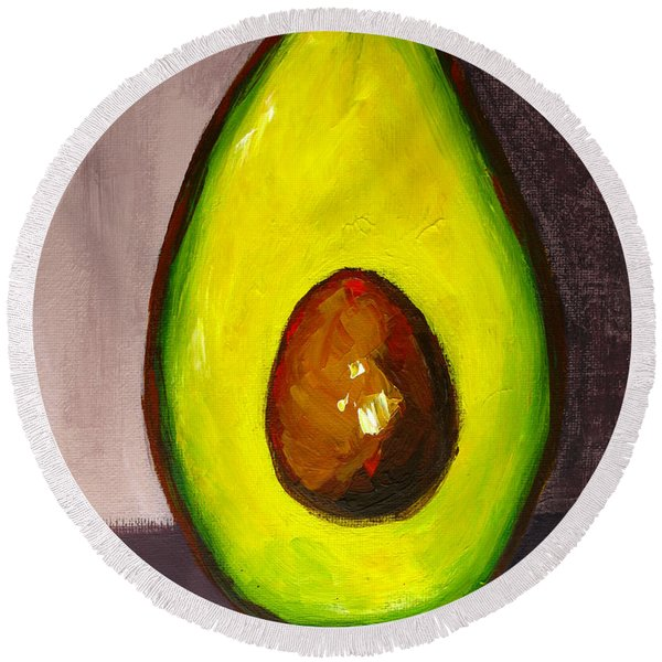 Avocado, Modern Art, Kitchen Decor, Sepia Background Round Beach Towel