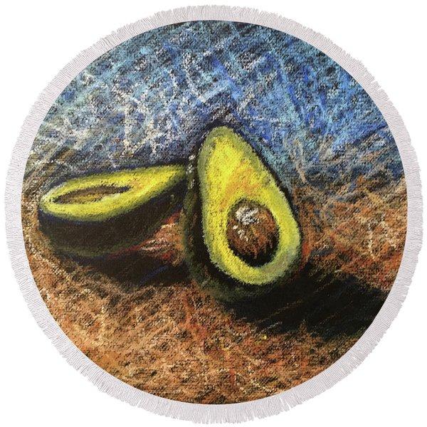 Avocado Study 2 Round Beach Towel