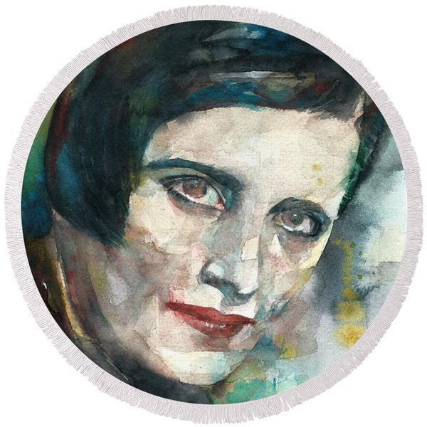 Ayn Rand - Watercolor Portrait.3 Round Beach Towel