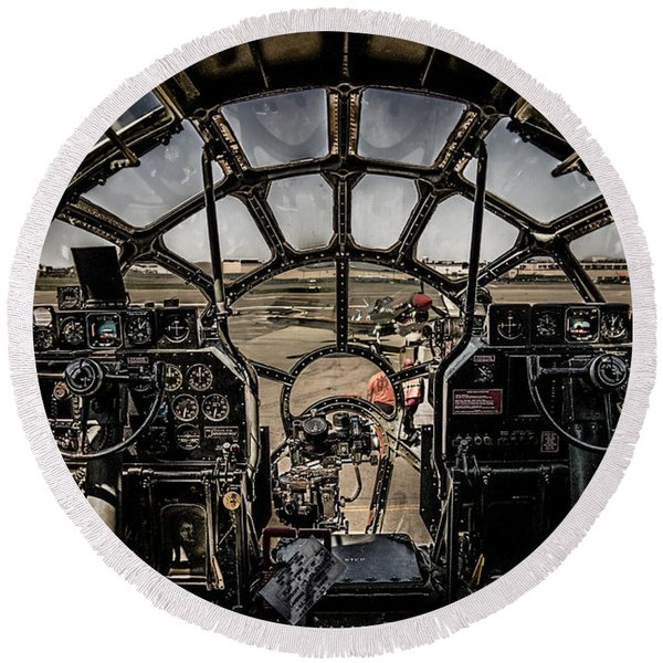 B29 Superfortress Fifi Cockpit View Round Beach Towel