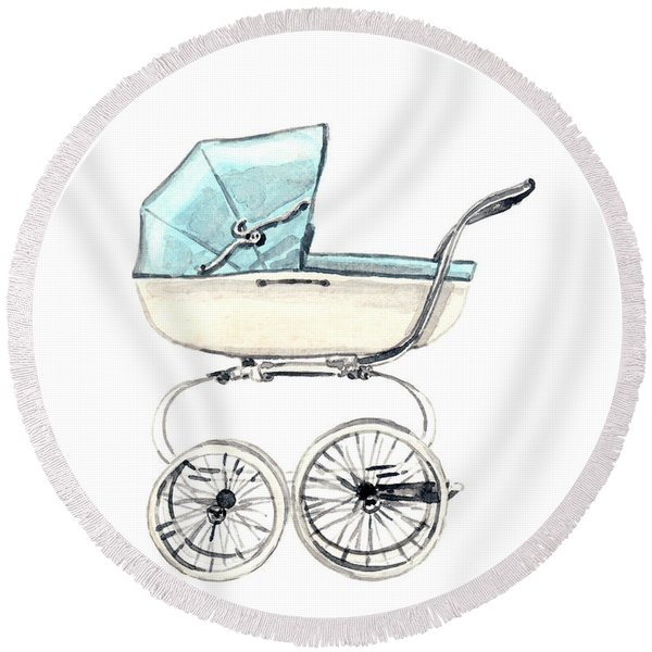 Baby Carriage In Blue - Vintage Pram English Round Beach Towel