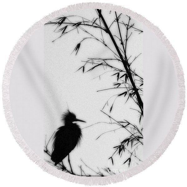 Baby Egret Waits Round Beach Towel