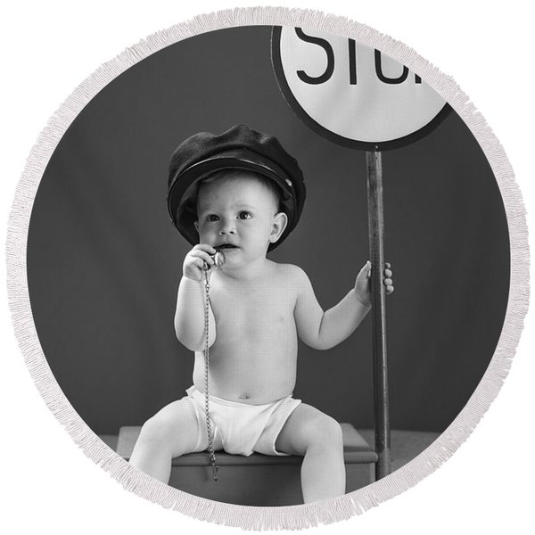Baby With Stop Sign, 1940s Round Beach Towel
