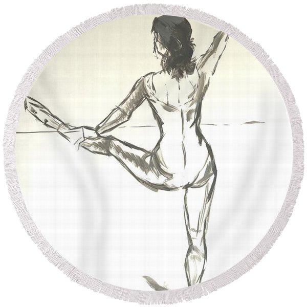 Ballet Dancer With Left Leg On Bar Round Beach Towel
