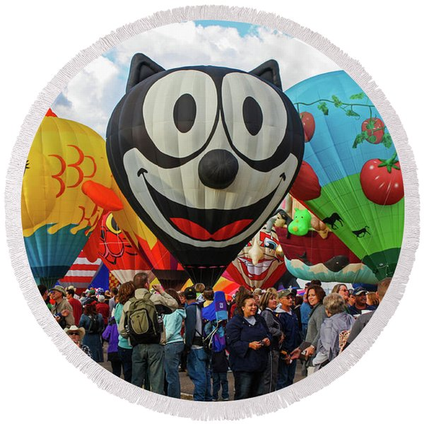 Round Beach Towel featuring the photograph Balloon Fiesta Albuquerque II by Lon Dittrick