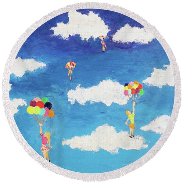 Balloon Girls Round Beach Towel