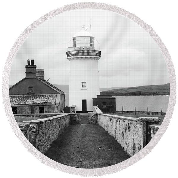 Ballyglass Lighthouse Mono Round Beach Towel