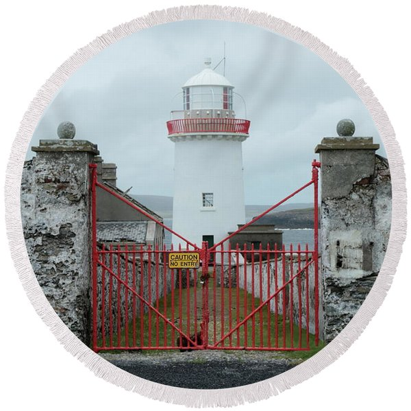 Ballyglass Lighthouse Round Beach Towel