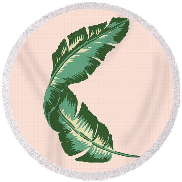 Banana Leaf Square Print Round Beach Towel