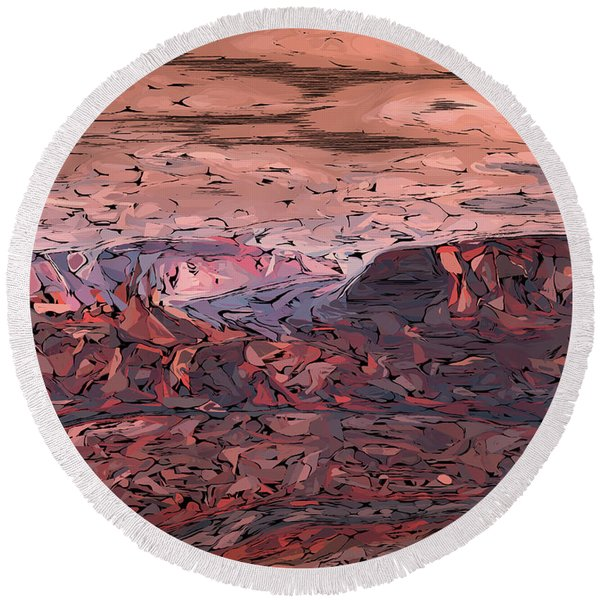 Banded Canyon Abstract Round Beach Towel