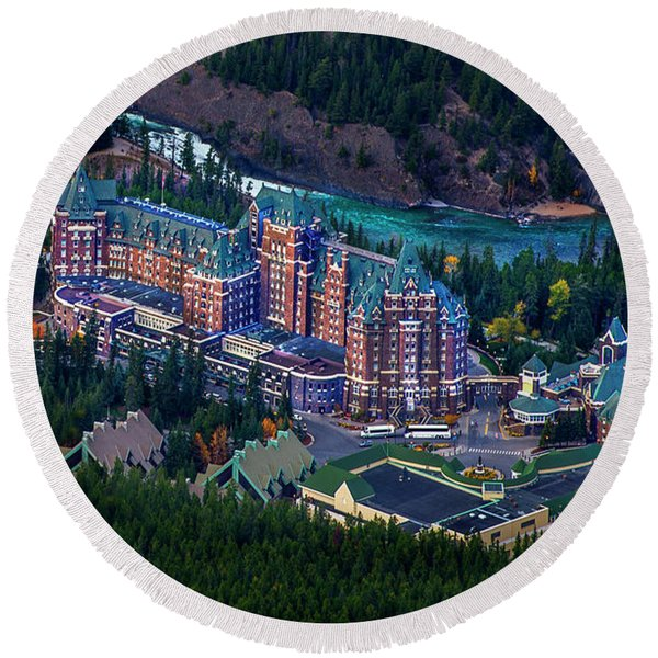 Banff Springs Hotel Round Beach Towel