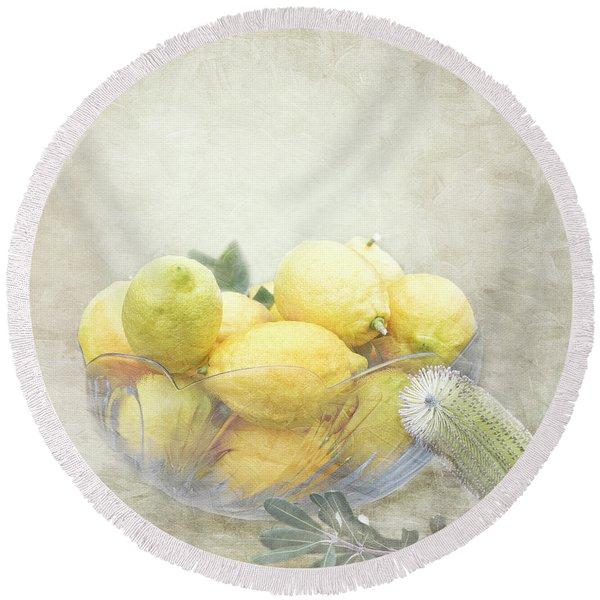 Banksia And Lemons Round Beach Towel