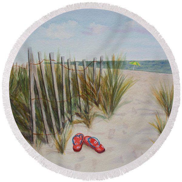 Barefoot On The Beach Round Beach Towel