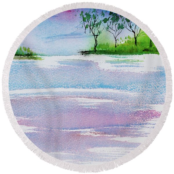 Gum Trees Frame The Sunset At Barnes Bay Round Beach Towel