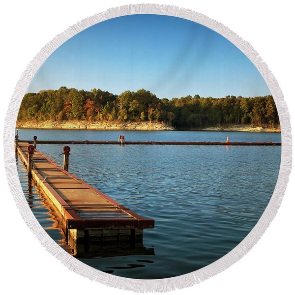 Barren River Lake Dock Round Beach Towel