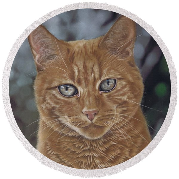 Barry The Cat Round Beach Towel