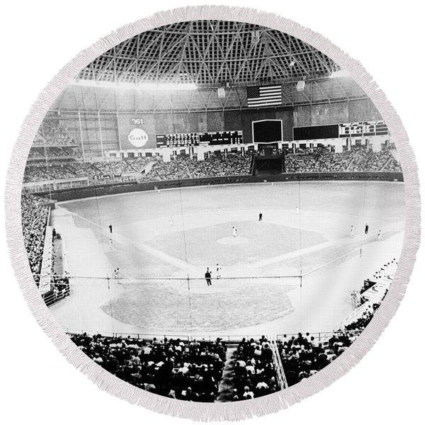 Baseball: Astrodome, 1965 Round Beach Towel