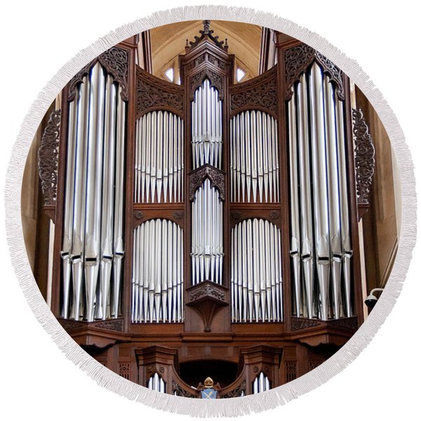 Bath Abbey Organ Round Beach Towel