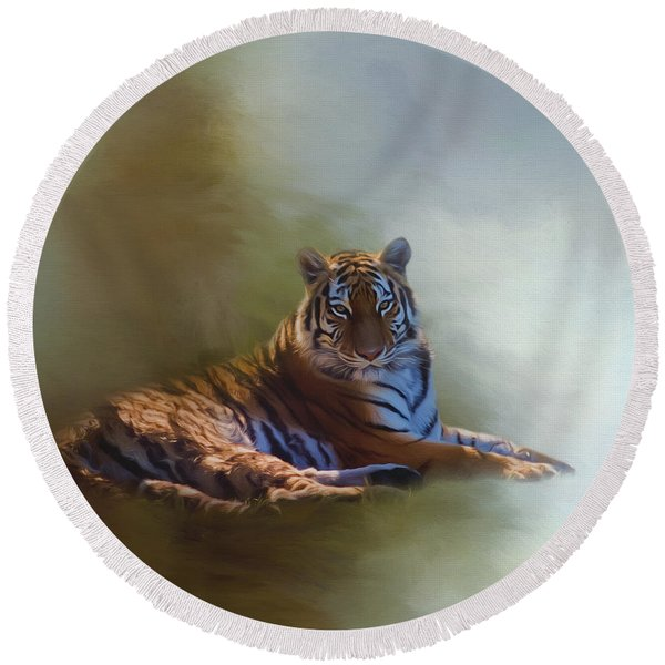 Be Calm In Your Heart - Tiger Art Round Beach Towel