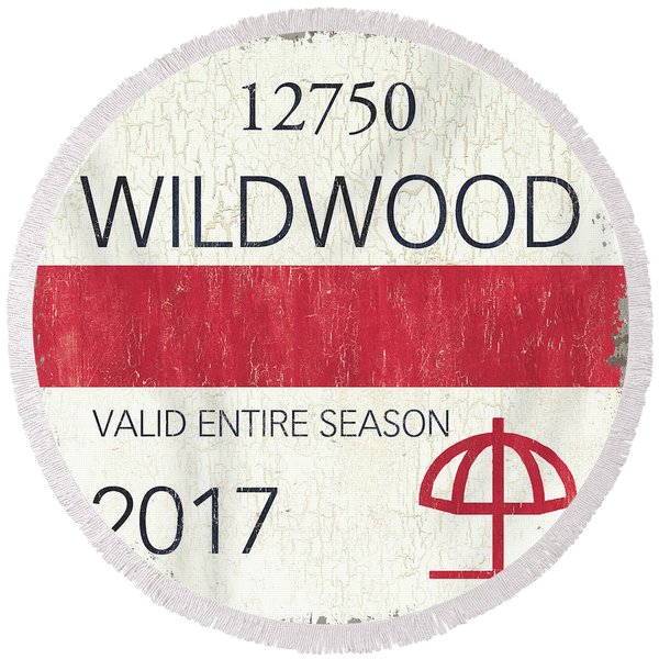 Beach Badge Wildwood 2 Round Beach Towel