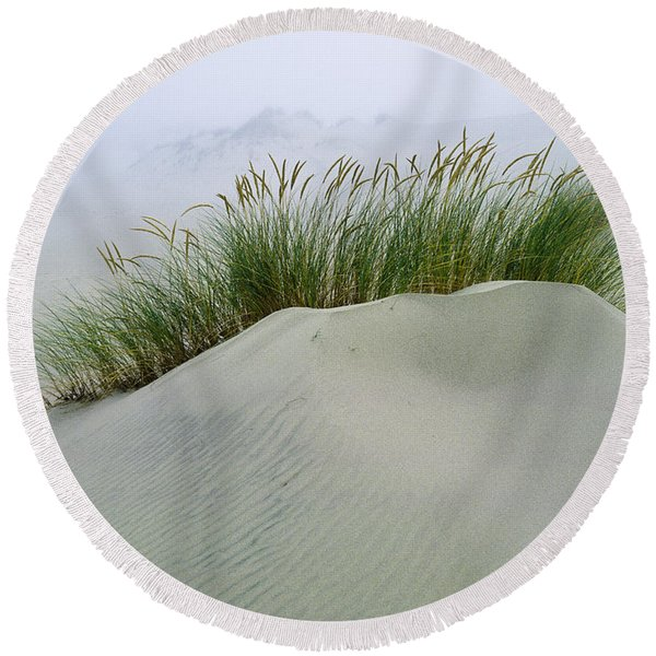 Beach Grass And Dunes Round Beach Towel