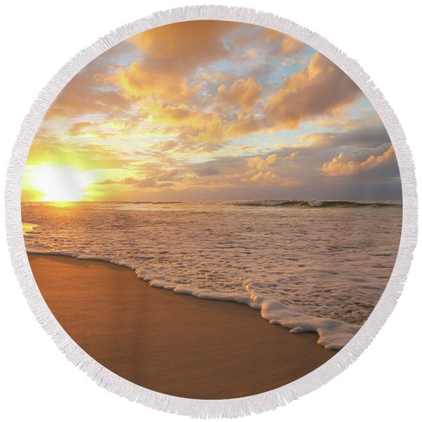 Beach Sunset With Golden Clouds Round Beach Towel