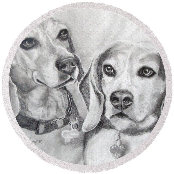 Beagle Boys Round Beach Towel