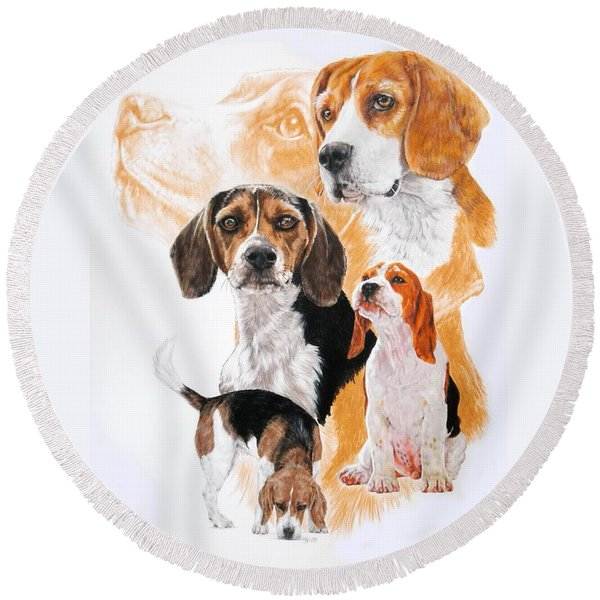 Beagle Hound Medley Round Beach Towel