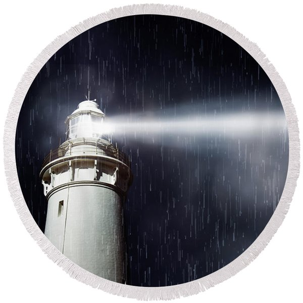 Beaming Lighthouse Round Beach Towel