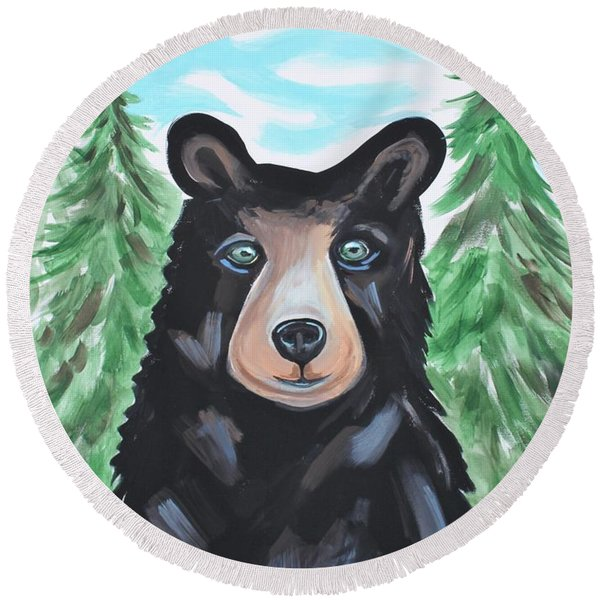 Bear In The Woods Round Beach Towel
