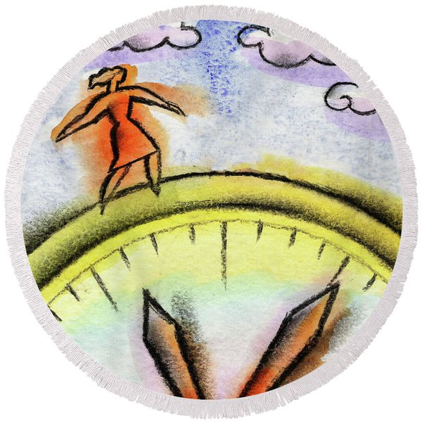 Beating The Clock Round Beach Towel