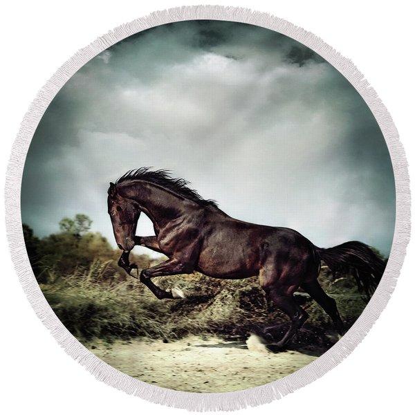 Beautiful Black Stallion Horse Running On The Stormy Sky Round Beach Towel