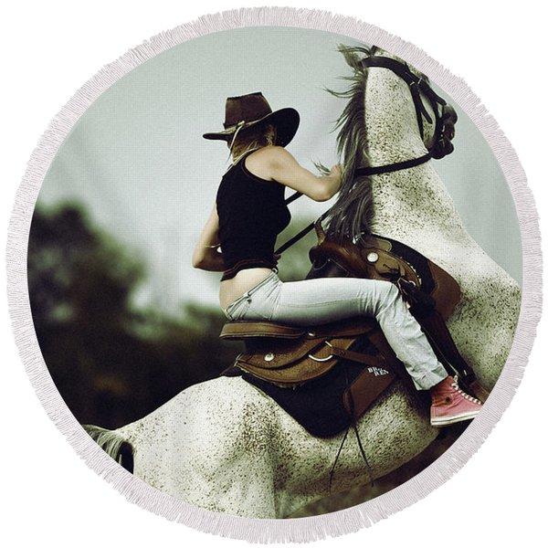 Beautiful Girl Ridingwhite Horse Round Beach Towel