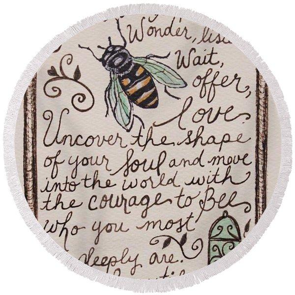 Bee You Round Beach Towel