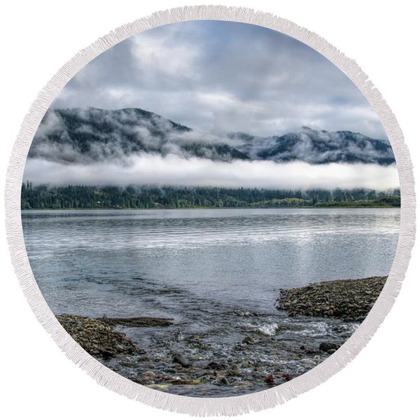 Before The Dawn On Quinault By Mike-hope Round Beach Towel